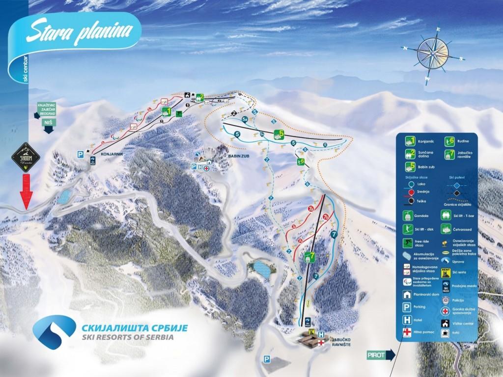 Mapa skijalista Stara planina